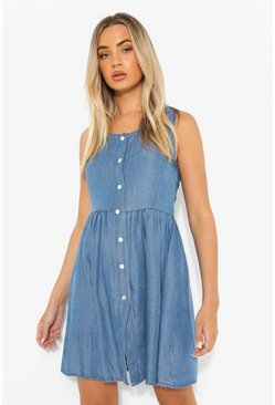 Button Down Floaty Denim Mini Dress, Mid blue azzurro
