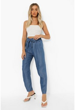 Mid blue Belted Pleat Front Denim Cropped Trouser