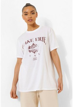 White Oversized Lake Erie T-Shirt