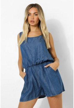 Mid blue blue Basic Denim Playsuit