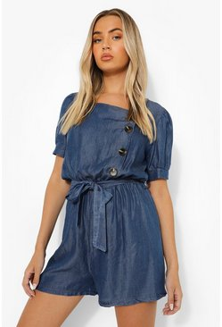 Mid blue blue Puff Sleeve Belted Denim Romper