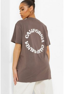 Charcoal grey Oversized T-Shirt Met Rugopdruk