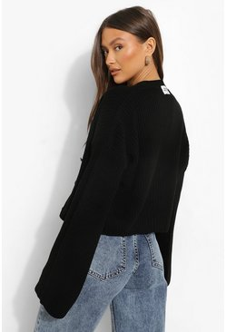 Black Official V Neck Cropped Cardigan