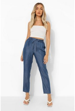 Mid blue Basic Chambray Cropped Trouser