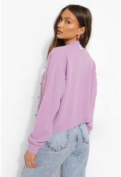Official Knitted Cropped Cardigan, Lilac viola