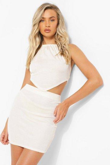 Cream white Recycled Rib Skirt