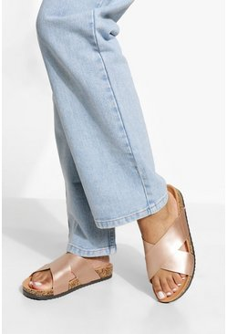 Wide Fit Metallic Cross Over Footbed Sandal, Rose gold metallic