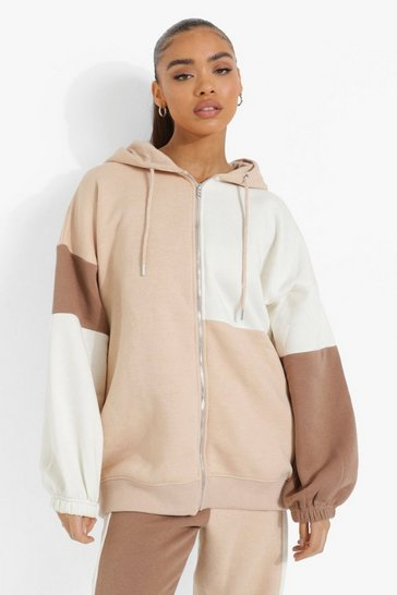 Stone beige Colour Block Zip Through Hoodie