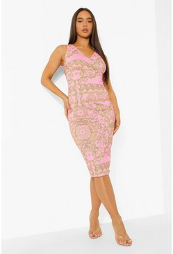 Pink Scarf Print Bodycon Midi Dress