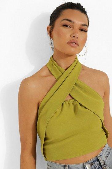 Lime green Green Linen Halterneck Wrap Crop Top