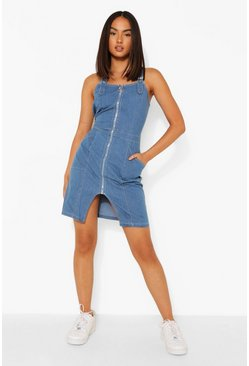 Zip Up Buckle Denim Pinafore Dress, Mid blue azzurro
