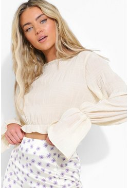 Pointelle Lace Up Cardigan , Ivory bianco