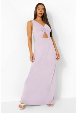 Lilac purple Twist Front Cut Out Maxi Dress
