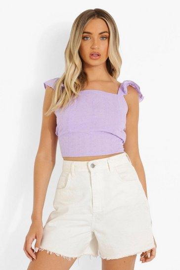 Lilac purple Purple Broderie Backless Crop Crop Top