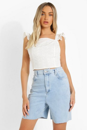 White Broderie Backless Crop Crop Top