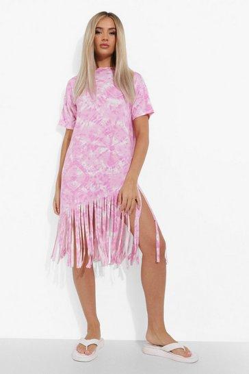 Pink Chain Print Tassel Hem T Shirt Dress