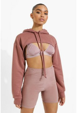Chocolate brown Super Crop Hoodie