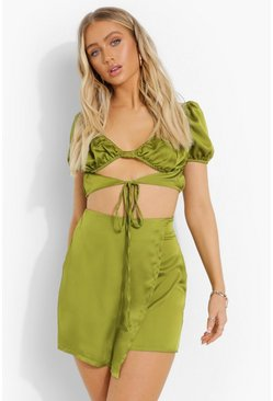 Olive green Satin Tie Crop & Wrap Mini Skirt