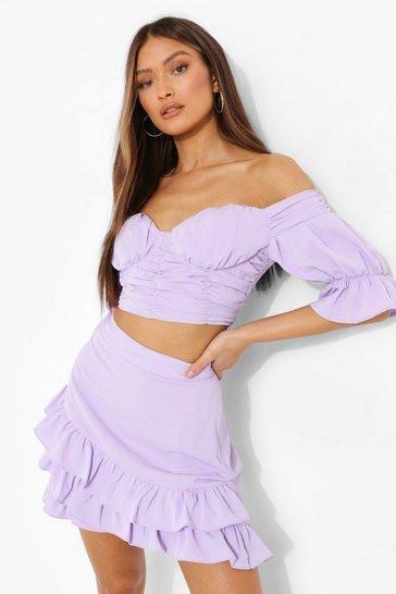 Lilac purple Ruched Corset Bardot Top