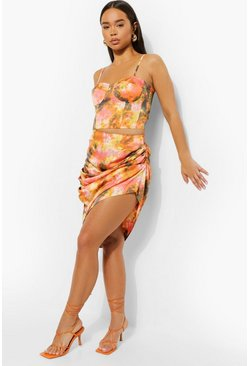 Orange Tie Dye Ruched Drape Skirt