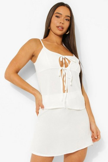 Ivory white Hammered Satin Tie Cami & Mini Skirt