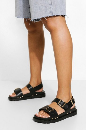 Black Pu Buckle Detail Sporty Dad Sandals