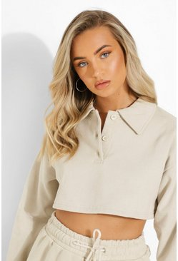 Collared Polo Crop Sweater, Sand Бежевый