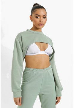Super Crop Sweater, Sage Серый