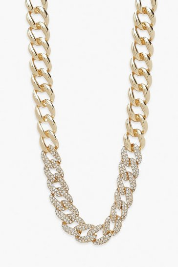 Gold metallic Chunky Clear Pave Diamante Chain Necklace