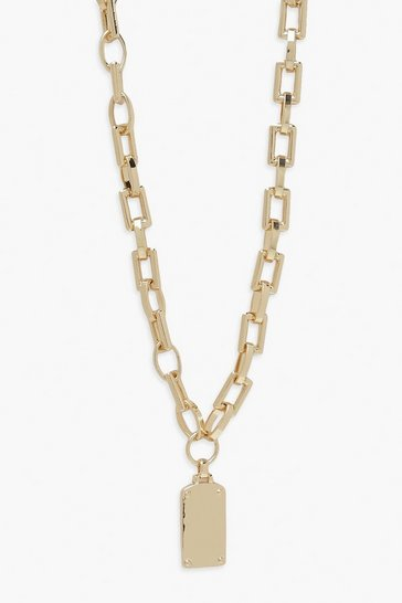 Gold metallic Chunky Chain Tag Pendant Necklace