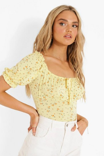 Yellow Puff Sleeve Floral Top