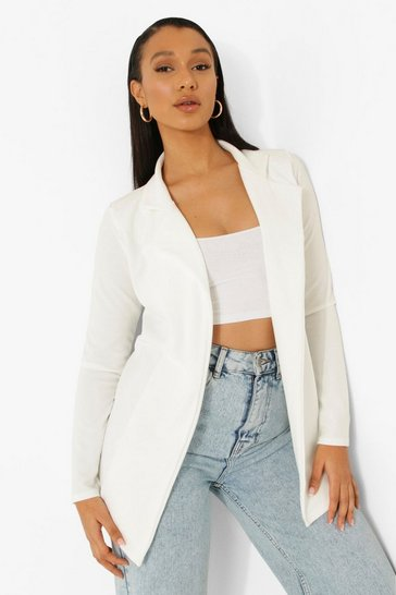 Ivory Longline Fitted Blazer