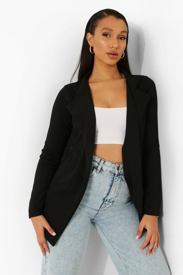Black Longline Fitted Blazer