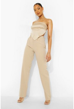 Sand beige Double Button Relaxed Woven Trouser