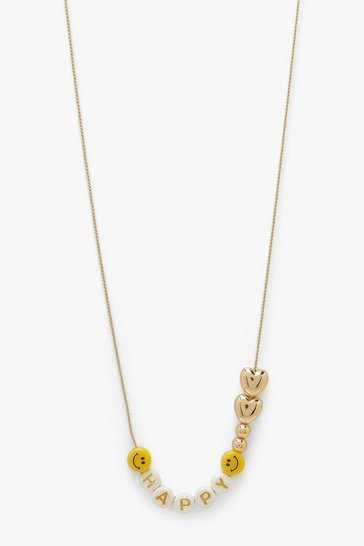 Gold metallic Mix N Match Letter Bead Necklace