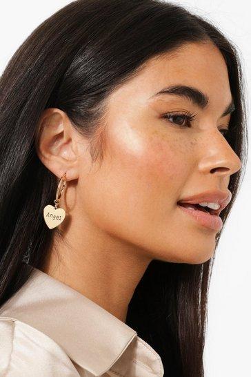 Gold metallic Angel Baby Slogan Mini Hoop Earrings