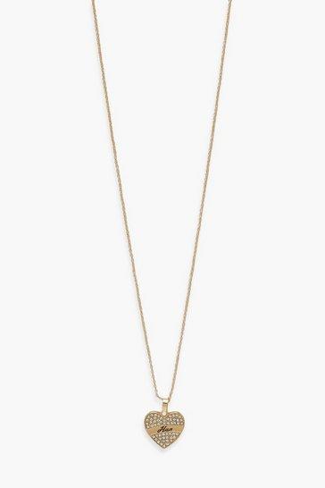 Gold metallic Diamante Heart Pendant Hun Necklace