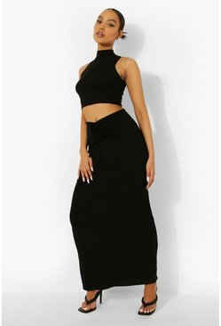 Black Drawstring Tie Detail Maxi Skirt