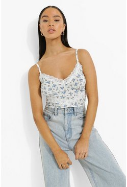 Baby blue blue Floral Lace Detail Rib Cami