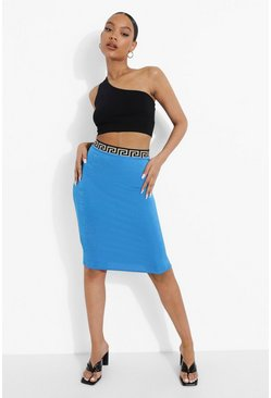 Blue Geo Tape Textured Slinky Midi Skirt