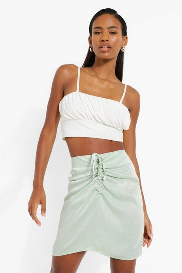 Sage green Drawstring Detail Satin Mini Skirt