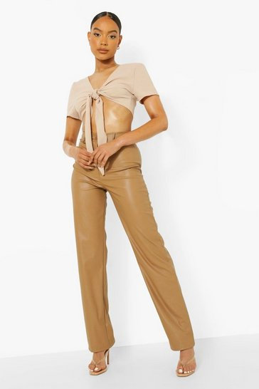 Tan brown Wide Leg Leather Look Trousers