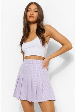 Lilac purple Gingham Woven Pleated Super Mini Tennis Skirt