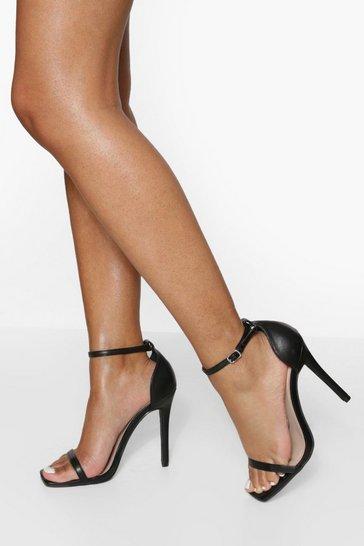 Black Square Toe 2 Part Heeled Sandal