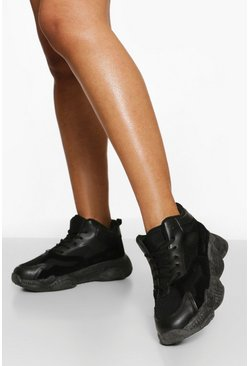 Black Wide Fit Chunky High Top Trainer