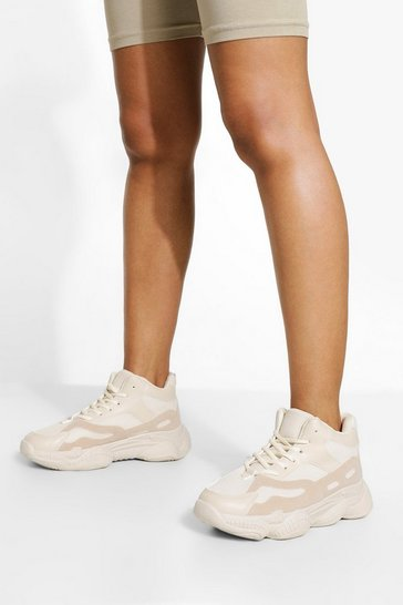 Stone beige Wide Fit Chunky High Top Trainer