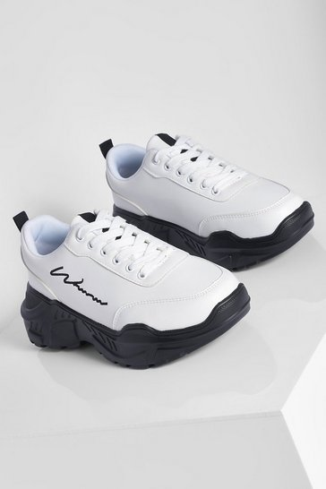 White Contrast Sole Woman Script Chunky Trainers