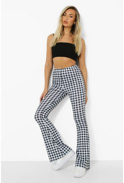 Black Gingham Flare Jersey Trousers