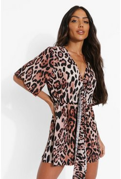 Brown Leopard Print Tie Front Flippy Playsuit