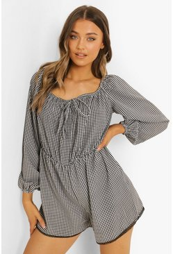 Black Gingham Tie Front Flippy Playsuit